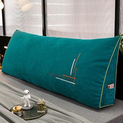 YANJJ Cojín para la Espalda de Lectura Almohada de cuña Almohada Triangular de Felpa Almohada de Apoyo Lumbar Almohada de cuña de Apoyo para la Espalda Trabajo de Lectura Peacock blue-200 * 50 * 20