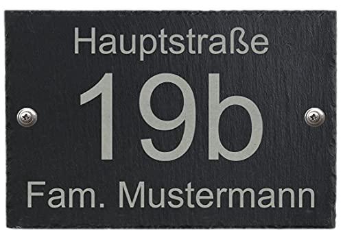 Feiner-Tropfen 30x20cm Hausnummer Schiefer Anthrazit schwarz Gravur Namen groß XXL