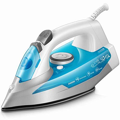 KotiCidsin Fer à repasser - 2400 W Fer à vapeur - 300 ml - Bleu (anti-tartre, système anti-goutte, fonction d'auto-nettoyage) [Classe énergétique A+]