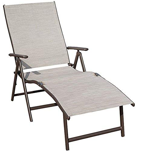 Kozyard Cozy Aluminum Beach Yard Pool Folding Reclining Adjustable Chaise Lounge Chair (1 Pack,...