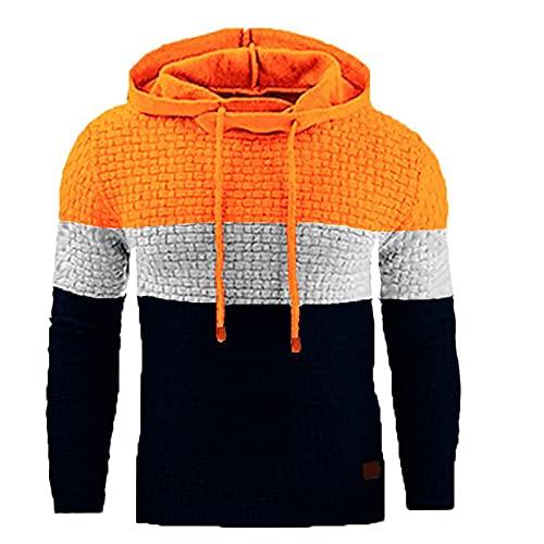BGUK Sudadera con capucha para hombre, de manga larga, informal, a cuadros, para otoño e invierno, naranja, XXXL