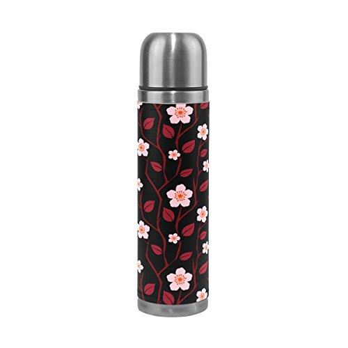 Isaoa romantique Fleur Sakura en acier inoxydable Gourde thermos Thermos anti-fuites Isolation sous vide Bouteille thermos à double paroi pour café chaud ou froid à thé (500 ml 479,1 gram coloré)