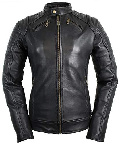 MDM Damen Motorradjacke mit Protektoren in schwarz (L)