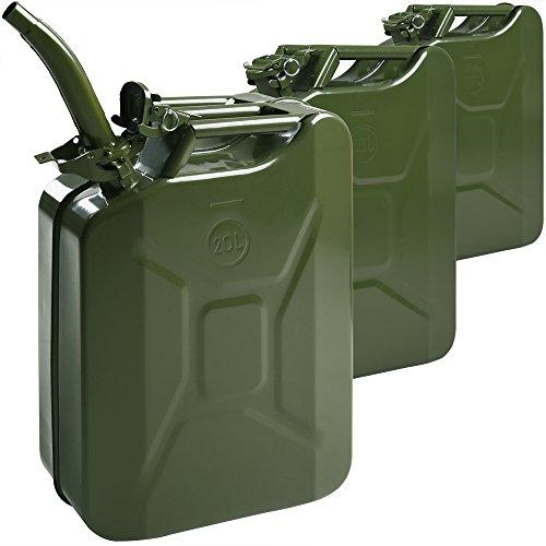 3X Monzana Benzinkanister 20 L inkl. Ausgießer UN-Zulassung Metall Diesel Kraftstoffkanister Kanister Behälter