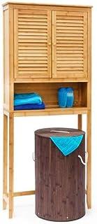 Relaxdays Armoire en bambou de salle de bain LAMELL HxlxP : 170 x 70 x 22,5 cm Étagère Rangement plus 2 portes machine à l...