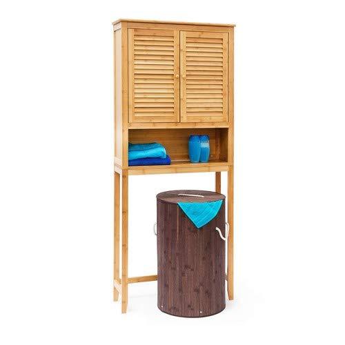 Relaxdays Waschmaschinenschrank LAMELL Bambus, Überschrank, Badschrank mit Flügeltüren, Holz, Ablage, HxBxT: ca. 170 x 70 x 22,5 cm, natur