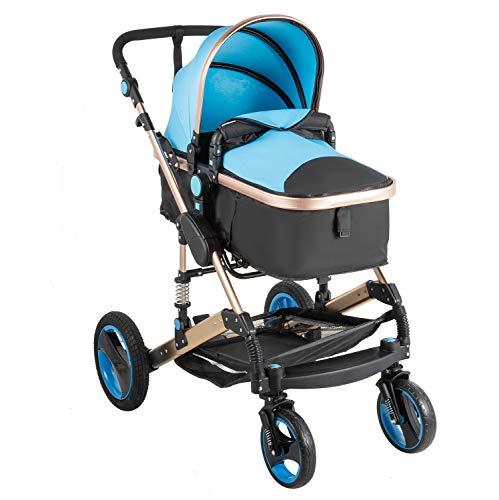 VEVOR Passeggino Portatile Passeggino Pieghevole Passeggino per 0-36 Mesi Bambini Vista alta Carrozzina Sistema di Viaggio Carrozzina Passeggino a 3 Ruote Passeggino con Rotazione 360 Gradi (Blu)