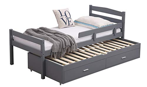 Captain Wooden Bed 3FT, with Single Trundle, Storage Drawers and Safety Guard Rail. Available in White or Grey. (Grey Frame with Trundle Mattress)