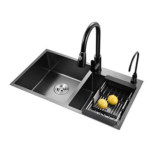 Kitchen Sinks Fregadero de Cocina de Acero Inoxidable, Fregadero doméstico Negro, Doble Fregadero de 72x40 cm, se Puede Instalar Encima del Lavabo/Debajo del Lavabo/Lavabo Taichung