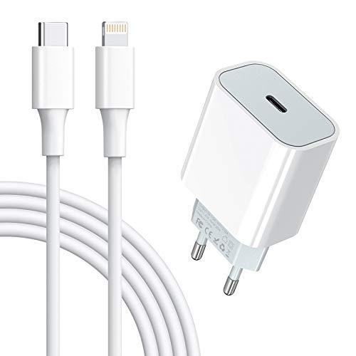 Amoner 20w USB C Ladegerät Schnellladegerät und Ladekabel 1m für iPhone geeignet für iPhone 12,12mini,12 Pro,12 Pro Max,11,11 Pro,11 Pro Max,neu SE,XR
