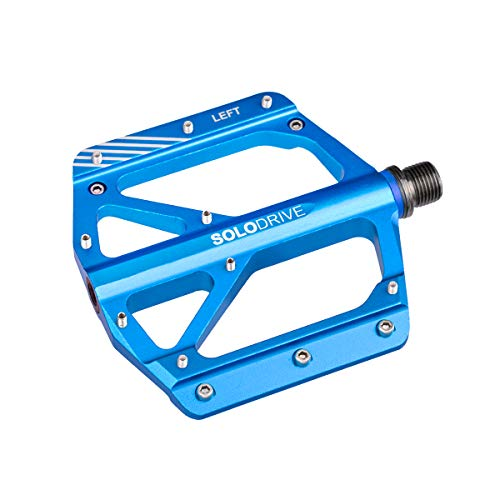 SOLODRIVE Mountain Bike Flat Pedals, Low-Profile Aluminium Alloy Bicycle Pedals, 9/16' MTB Pedals, Light Weight and Wide Platform (Blue)
