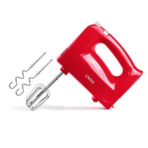 Handmixer Rührgeräte für Küche 5 Stufen Handrührer Handrührgerät (Knethaken, Rührbesen, 200 Watt, Auswurftaste, Mixer, Rührer, Rot)