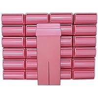Epilwax 24 Cartuchos Roll-On de Cera Depilatoria Tibia Cera roll on de 100 ml de Cera profesional Rosa de alta calidad para Depilación con Bandas Depilatorias des las piernas, axilas, y el cuerpo
