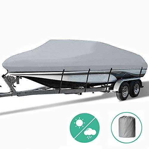 Ownerkula Waterproof Trailerable Boat Cover with Carrying Bag Fit V-Hull