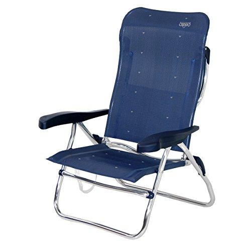 crespo AL/223-M-41–sedia Sdraio da spiaggia, alta, reclinabile in 7posizioni, multifibre