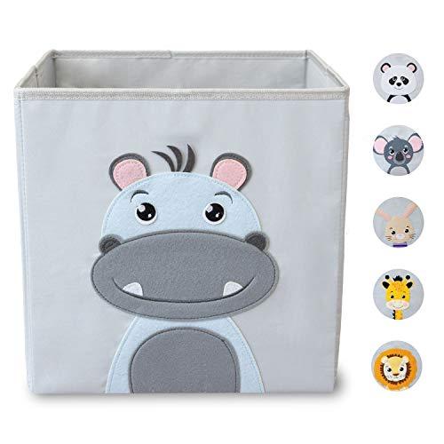 wonneklein Aufbewahrungsbox Kinder I Spielzeugkiste Kinderzimmer I Spielzeug Box (33x33x33 cm) zur Aufbewahrung I passt ins Ikea Kallax Regal I Kallax Box I grau mit Tier Motiv als Deko (Hansi Hippo)