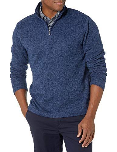 Van Heusen Men's Flex Long Sleeve 1/4 Zip Soft Sweater Fleece, True Navy, Large