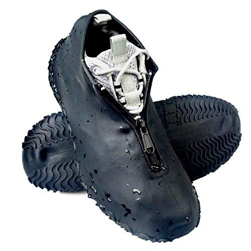 Lady of Luck Silikon Überschuh, Wasserdicht Schuhüberzieher, Überschuh Wasserdichte und Rutschfeste Überschuhe Wiederverwendbar, mit Verstärkter Antirutsch-Sohle für Regen (Schwarzer-L)