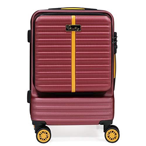 Hard Bowl Trolley Valigia Roll Case Valigia Twin Wheels Valigia Set con Ruote Girevoli & TSA Lock 20 pollici (S, Winered)