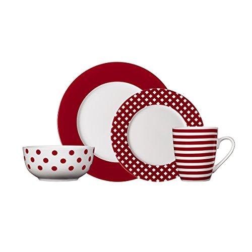 Pfaltzgraff Kenna Red 16-Piece Porcelain Dinnerware Set, Service for 4