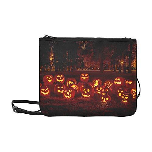 WYYWCY Gruppe Kerze beleuchtete geschnitzte Halloween-Kürbise kundenspezifische hochwertige Nylon-dünne Handtasche Umhängetasche Umhängetasche