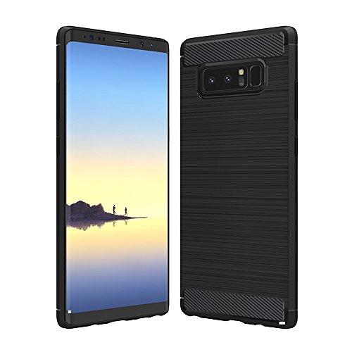 Anjoo Hülle Kompatibel mit Samsung Galaxy Note 8, Carbon Fiber Texture-Inner Shock Resistant-Weich und Flexibel TPU Cover Case Kompatibel mit Samsung Note 8, Schwarz
