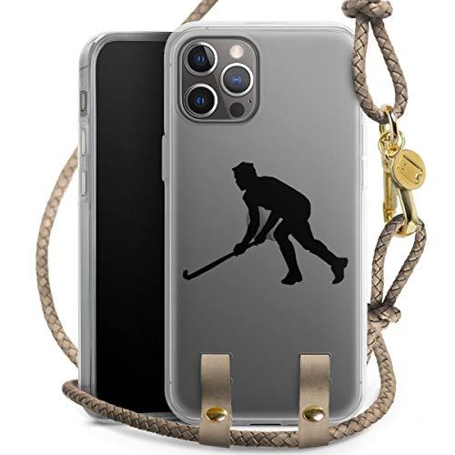 DeinDesign Carry Case kompatibel mit Apple iPhone 12 Pro Hülle mit Kordel aus Leder Handykette zum Umhängen Taupe Gold Sport Hobby Hockey