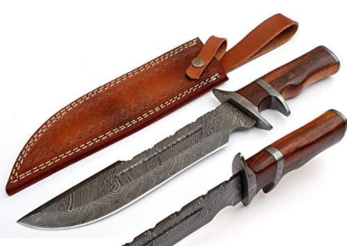 SharpWorld 15 Inches Custom Damascus Knife Pakka Wood Handle w/Brown Leather Sheath TJ117