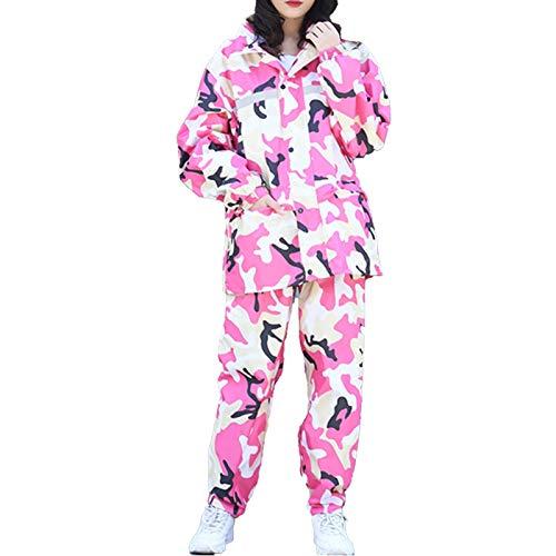 Traje de lluvia para hombres Mujeres, chaqueta de impermeable impermeable liviana + conjuntos de pantalones, ropa de lluvia para deportes Camping Senderismo al aire libre - M/L/XL/XXL/3XL/4XL/5XL