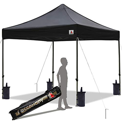 ABCCANOPY Pop up Canopy Tent Commercial Instant Shelter with Wheeled Carry Bag, Bonus 4 Canopy Sand Bags, 10x10 FT (Black)
