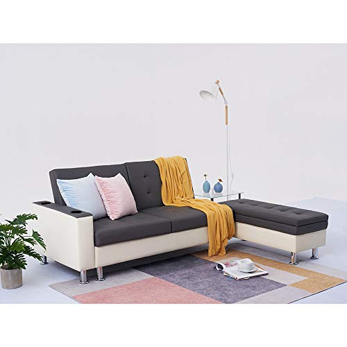 3 Seater Faux Leather Sofa Futon Bed Corner Couch With Storage Guest Sleeper Convertible Ottoman Foot Stool Chaise For Lounge Living Room (GRAY-WHITE)