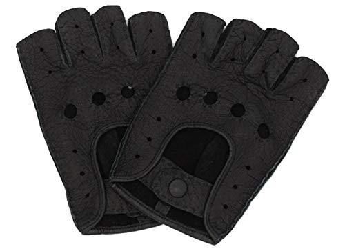 Weikert-Handschuhe exklusive fingerlose Auto Handschuhe aus Pekari Leder, handgenäht, Herren, Germany (10, schwarz)