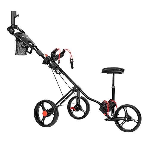 PEXMOR Golf Push Cart, 3 Wheels Foldable Trolley w/PU Seat, Golf Club Easy Push Pull Cart Trolley w/Foot Brake, Umbrella Holder, Scoreboard Bag & More (Black)