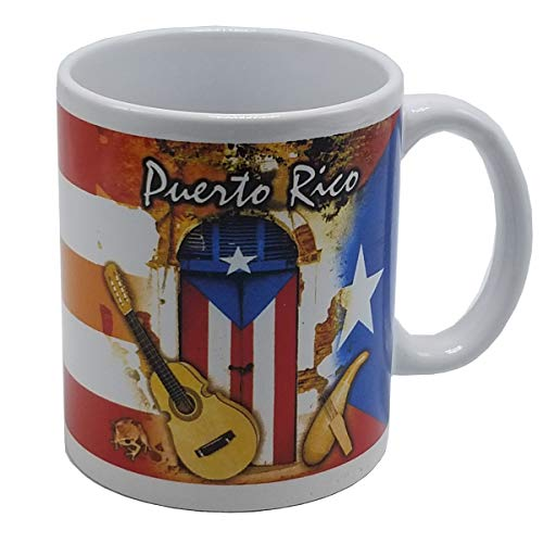 Puerto Rico Coffee Mug Flag & Instruments