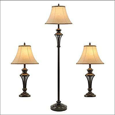 """Smeike 3 Pack Lamp Set (2 Table Lamps, 1 Floor Lamp), 3-Piece Vintage Style Table and Floor Lamp Set in Bronze Finish with Brown Fabric Lamp Shades, 26"""" and 61""""(H), Solid Iron"""