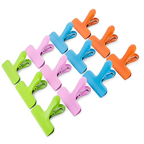 CROC JAWS 12 Pack Chip clips stainless steel large 3quot wide 4 assorted colors HeavyDuty Bag clips Airtight Seal for Food bags Multipurpose for kitchen home or office non magnetic