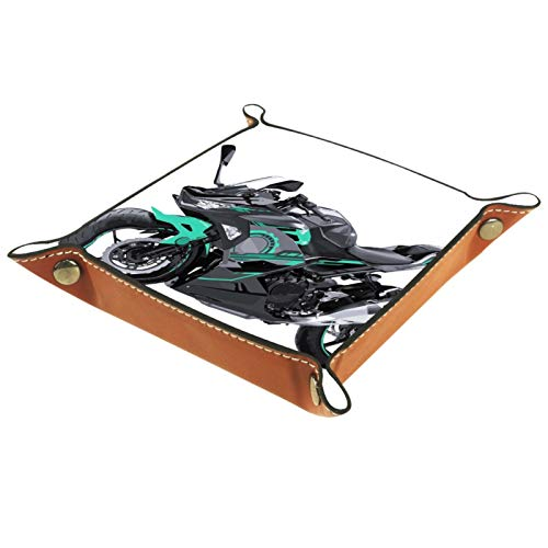 TIKISMILE Bandeja de almacenamiento MotoGP Speed Race de piel para pintalabios, organizador de cosméticos, bandeja para el hogar, la oficina, la llave de escritorio