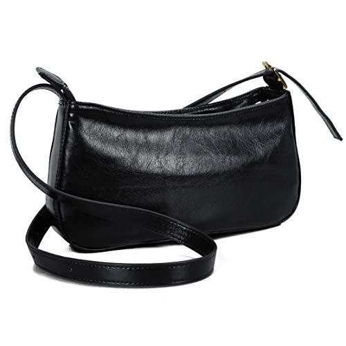 befen Women's Fashion Pochette Purses Leather Shoulder Bag Chic Retro Baguette Clutch Purses(Black)