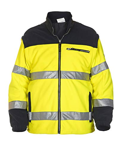 Hydrowear 04026006F Feldkirchen EN 471 Fleece-Jacke aus Toptex Gelb/Marine Größe XXL