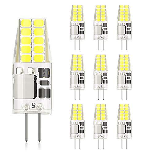 DiCUNO G4 LED Lampe 3W, AC/DC 12 V mit 300 LM, SMD, 20 * 2835, Ersatz für 30W Halogen Lampen, Kaltweiß 6000K-6500K, Nicht Dimmbar, Kein Flackern, 10-er Pack