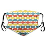 Retro,Graphic Multicolor Ogee Motif Wavy Pattern Pointed Arch Divided with White Stripes,Multicolor Face Mask Reusable Washable Masks Cloth for Men and Women