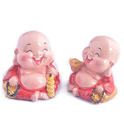 fengshuisale 2pcs/Pair Laughing Buddha Statue for Happiness, Wealth + Free Red String Bracelet V9017