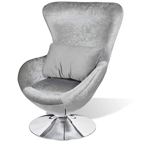 vidaXL Sessel Ei-Form Silbern Drehsessel Loungesessel Clubsessel Relaxsessel