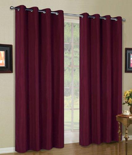 Vorhang Blickdicht Schal, 2 Stück 245x140 (HxB) Matte unifarbene Gardine mit Ösen, Bordeaux Material aus Microsatin Micofaser-Gewebe, 204050