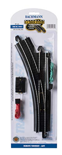 Bachmann Trains - Snap-Fit E-Z TRACK REMOTE TURNOUT - LEFT (1/card) - STEEL ALLOY Rail With Black Roadbed - HO Scale