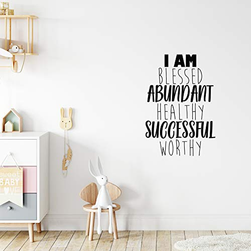 Vinyl Wall Art Decal - I Am Blessed Abundant Healthy Successful Worthy - 32' x 22' - Trendy Cute Optimistic Self Esteem Quote Sticker for Bedroom Kids Room Closet Playroom School Decor (Black)