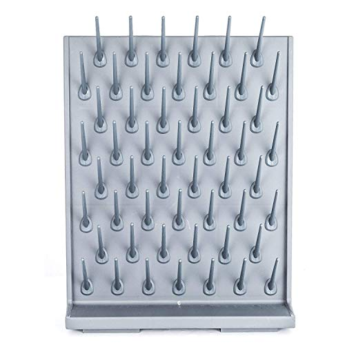 YTFLOT Lab Supply Drying Rack Pegboard Bench-top Wall-Mount Laboratory Glassware 52 Detachable Pegs Lab Drying Draining Rack Cleaning Equipment (Grey)