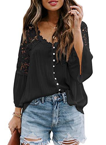 Aleumdr Blusa de encaje para mujer, elegante, túnica de manga larga, informal, holgada, vintage, túnica Color negro. XXL