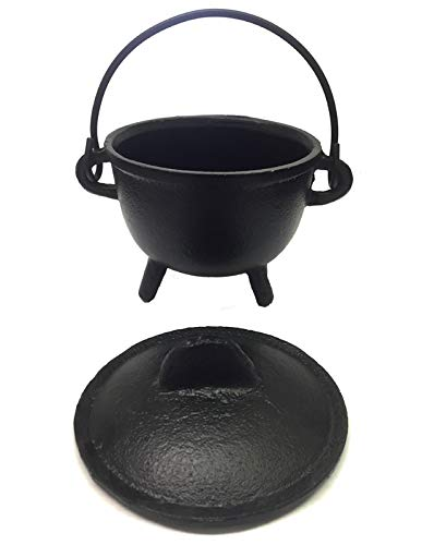 New Age Imports, Inc. Cast Iron Cauldron w/handle & lid, ideal for smudging, incense burning, ritual purpose, decoration, halloween decoration, candle holder, etc. (Pot Style 4' Dia (BR90))