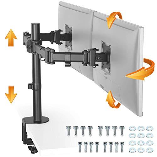 RICOO TS5811, Monitor-Halterung 2 Monitore, Schwenkbar, Neigbar 13-27 Zoll (33-69 cm) Bildschirm-Ständer, Tisch-Standfuss, VESA 100x100, Schwarz